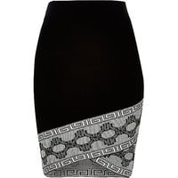 Black patterned hem pencil skirt - mini skirts - skirts - women