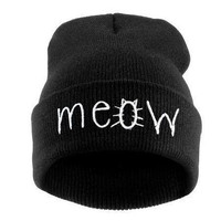 Meow Beanie Hat Cat Lover