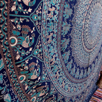 Wall decor Wall tapestry tapestries hanging elephant floral purple blue mandala bedspread beach throw