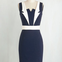 Nautical Mid-length Sleeveless Bodycon Lapel in Love Dress