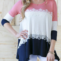 Pink Lace Asymmetrical Blouse