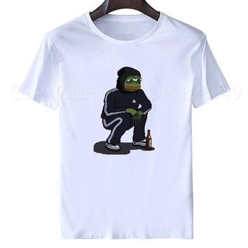 Pepe The Frog Wearing Jump Suit Beer Squatting T-shirt