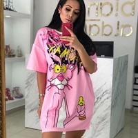 Pink Panther Summer Newest Fashionable Women Loose Short Sleeve Dress Pink