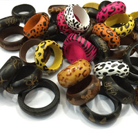 12 Pcs Mixed Jewelry Fashion Wooden Rings for Women