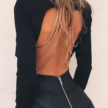 Black Irregular Chain Backless Round Neck Long Sleeve T-Shirt