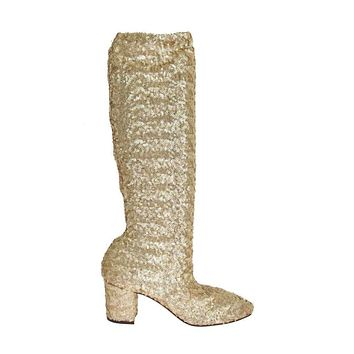 Dolce & Gabbana Gold Sequined Leather Stretch Boots