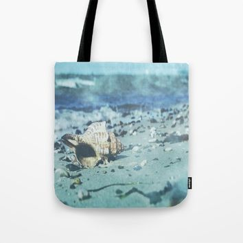 Shell on the beach Tote Bag by Tanja Riedel