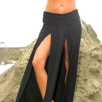 SEXY ELEGANT  boho beach resort festival burning man double front slit toga maxi skirt with fold over waistband