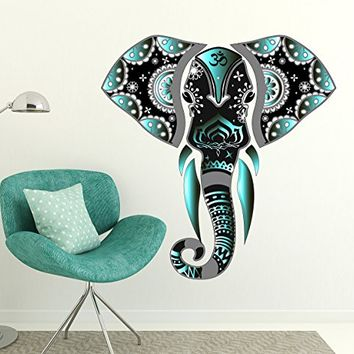 "Wall Decal Elephant Ganesha Full Color Murals Vinyl Sticker Decals Multicolored Indian Elephant Animals Decor Boho Bohemian Bedroom Yoga Om EN3 (22"" Tall x 22"" Wide)"
