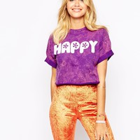The Ragged Priest Cropped Festival T-Shirt With Reversible Happy Crappy Print