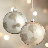 Winter White Lace Ball Ornaments in Silver and Gold Tree | Crate&Barrel