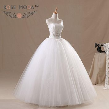 One Shoulder Tulle Wedding Ball Gown Crystal Sash Lace Corset Debutante Dress Vestidos de Noiva Real Photos