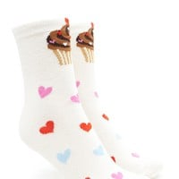 Cupcakes and Hearts Crew Socks