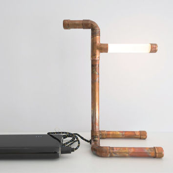 Copper USB Pipe Lamp • LED • Copper Lamp • Copper Pipe • Desk Lamp • Work Light • Pipe Light • USB Powered