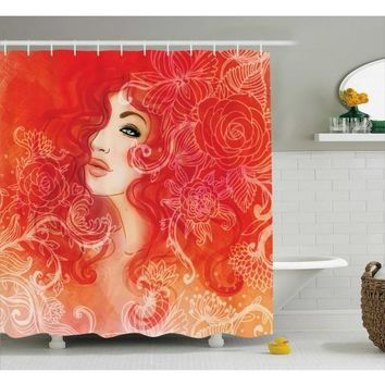 Red Shower Curtain Lady Hair Floral Ornament Print For Bathroom Waterproof And Fabric Romantic Shower