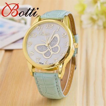 YBotti Women Bracelet Watch butterfly Famous brand Ladies Leather Analog Quartz Wrist Watch Clock Women relojes mujer masculino