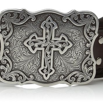 Nocona Women's Embossed Leather Cross Buckle Belt