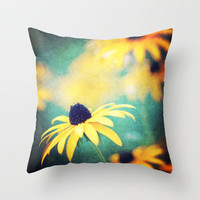black eyed susan Throw Pillow by Sylvia Cook Photography | Society6