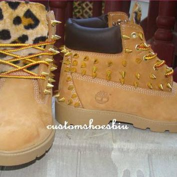Mail YOUR OWN BOOTS- Custom Unisex Spiked Studded Timberland with Cheetah Print