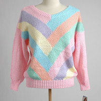 New 1980's Colorful Pastel Gitano Sweater with tags, never worn, 80's, 80s