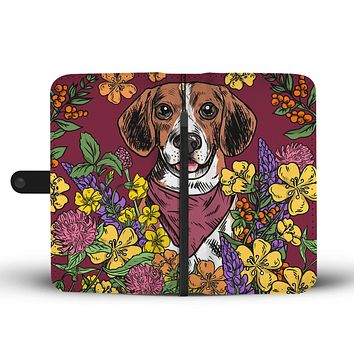 Illustrated Beagle Wallet Phone Case