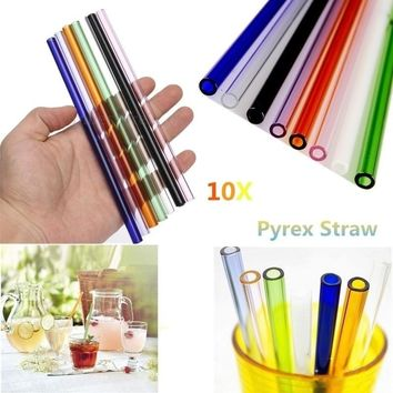 5X 8''/9''/10'' Creative Pyrex Glass Drinking Straw Wedding Birthday Party Diameter 8mm(Color: Transparent)