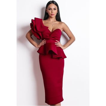Red Midi Cocktail Dress