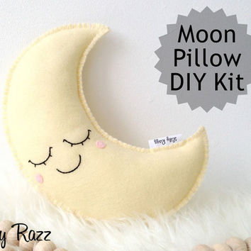 Moon Pillow DIY KIT, Yellow Moon Sewing Kit, Make your own moon softie