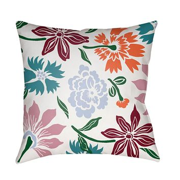 Moody Floral Pillow Cover - Dark Green, Pale Blue, White, Bright Pink, Teal - MF040