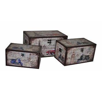 3 Piece Designer Wooden Trunk Set, Multicolor By Benzara