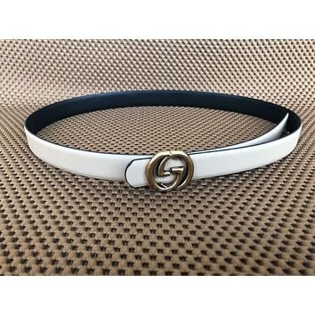 GUCCI fashion men's GG pin buckle belt business casual belt F-KWKWM White