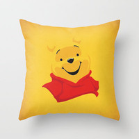Winnie the Pooh Nursery Art Retro Style Minimalist Poster Print Throw Pillow by The Retro Inc