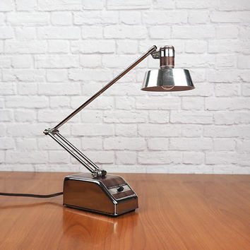 Midcentury Modern Desk Lamp / Mobilite Transformer Powered Hi Intensity Task Light / Chrome and Faux Bois Woodgrain