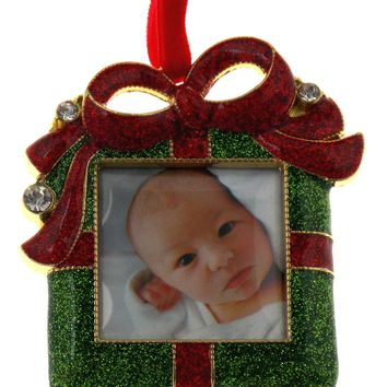 JC Penney Present Christmas Ornament with Picture Frame Metal