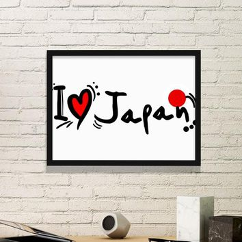 I Love Japan Tokyo Asia Culture Colorful Cute Sakura Bonsai Geisha Sushi Art Picture Frame Prints of Paintings Home Wall Decal