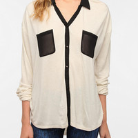 Urban Outfitters - Sparkle & Fade Contrast Chiffon Button-Down Shirt