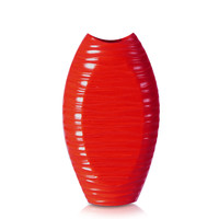 Decorative 15-inch Red Oblong Textured Wood Vase