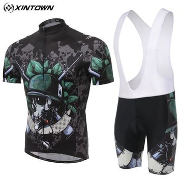 XIMTOWN Skull Cycling Jersey Men Ropa Ciclismo Breathable Bicycle Clothing Quick-Dry GEL Bib Pad Mountain Bike Shorts Pants