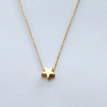 Tiny Gold Star Necklace, star necklace, personalized, wedding necklace, brides maids jewelry