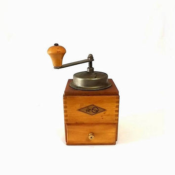 ON SALE - KYM Coffee Grinder, Vintage Wooden Manual Mill, Farmhouse Kitchen Decor