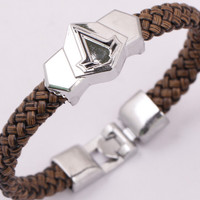 Leather Bracelet Stainless Steel Assassins Creed Leather Wristband