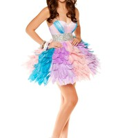 Pastel Rainbow Feather Party Dress