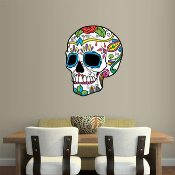 Full Color Wall Decal Mural Sticker Decor Art Beautyfull Cute Sugar Skull Bedroom Curly modern fashion (col556)