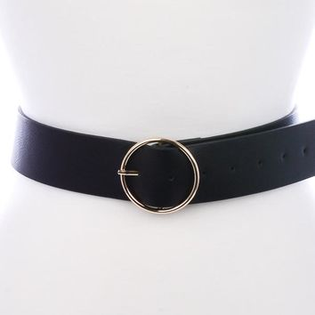 Downtown Gold Circle Buckle Belt in Black