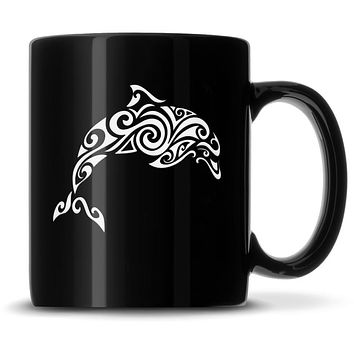 Premium Coffee Mug, Dolphin Design, 12oz (Black)