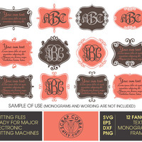 Fancy Monogram &Text Frames (SVG, eps, DXF, PNG) Digital Cut Files for Silhouette, Cricuit electronic cutting machines, embroidery - cv-436