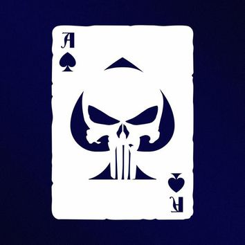 Ace Of Spades Punisher Skull Old Playing Card Vinyl Decal Sticker