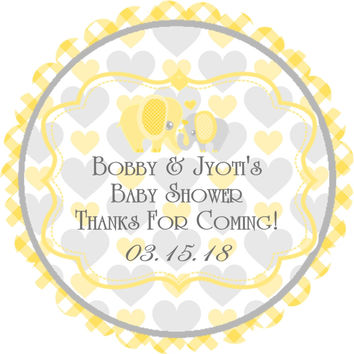 """Yellow Elephant Baby Shower Stickers Or Favor Tags - 2.5"""" Round"""