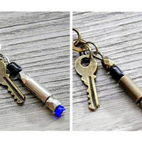 Doctor Who blue or green sonic screwdriver with Tardis key pendant necklace by vintagehomage