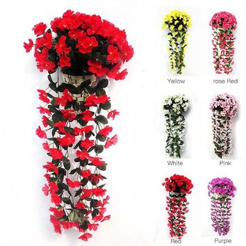 1 pcs Hanging Wall Artificial Fake Silk Violet Orchid Flowers Rattan Plant Basket  DMO0104
